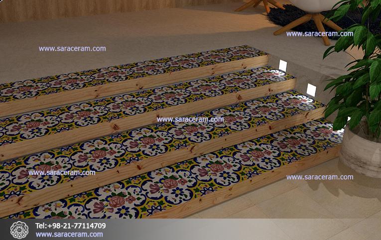 تلفیق جالب چوب و کاشی سنتی در پله