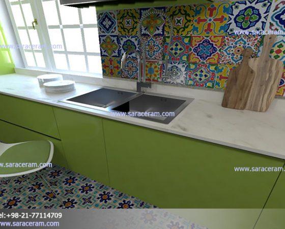 کاشی آشپزخانه با طرح اسپانیایی
